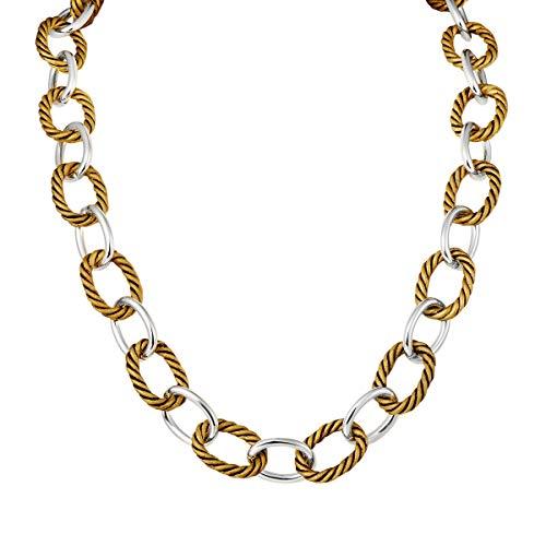 UNY New Style Trendy Elegant Vintage Retro Unique David Fashion style 2 Tone Double Twist Wire Link Women Short Necklace (Antique Gold) ()
