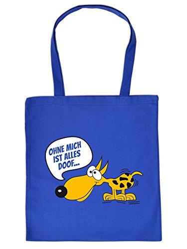 Super Hundetasche in königsblau : Ohne mich ist alles doof ! von Goodman Design!