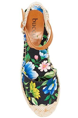 Bucco Bloemrijke Damesmode Sleehak Sandalen Zwarte Bloem