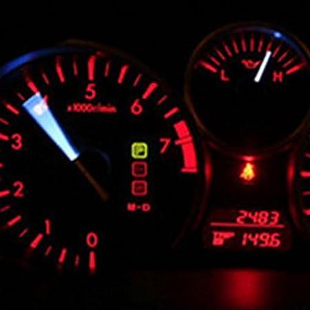 Partsam 10pcs Red 5050-SMD LED Bulbs T5 74 Wedge Instrument Panel Speedometer Tacho Gauge Cluster Lamp for 2005-2011 Chevrolet Corvette