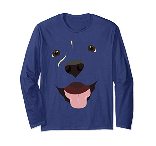 Yellow Labrador Costume (Unisex Labrador Face | Funny Cute Lab Dog Costume Long Sleeve Shirt Large Navy)