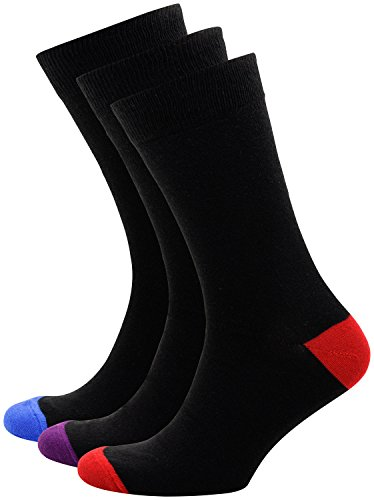 Cotton Socks Men Crew Smart Dress Socks Thin and Breathable Colored Tip and Toe Design 3 Pack (Black/Red/Purple/Blue, 3) ()