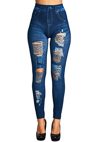 Trinity Jeans Womens Juniors High Waist Distressed and Ripped Detail Denim Print Leggings Denim Blue 3