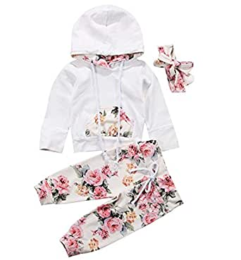 Infant Baby Girl Outfit Winter Floral Hoodie with Pocket Flower Long Pants Set + Headband Tracksuit