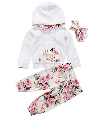 - Infant Baby Girl Outfit Winter Floral Hoodie with Pocket Flower Long Pants Set + Headband Tracksuit