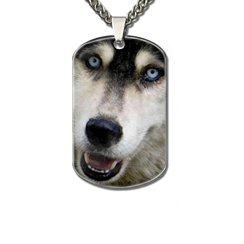 Personalized Military Army Style Aluminum Dog Tag ID Pendant Necklace/Rectangle Dog Tag Keychain (Alaskan Malamute Face) ()