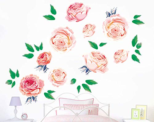 Runtoo Pink Peony Wall Stickers Flower Girl Rose Wall Decals Bedroom Living Room Nursery Wall Art Decor