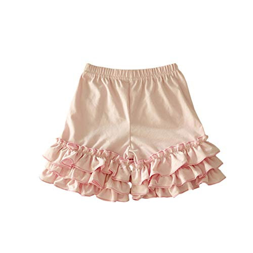 Bfsports Toddler Baby Girls Solid Color Triple Icing Ruffle Shorts Cotton Sport Active Bottom Pants Pink 3-4T