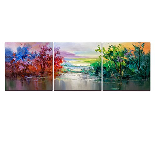 3 Pieces Wall Art Painting Swamp On Water Autumn Pictures Prints On Giclee Canvas Landscape The Artwork Modern Decor Oil For Home Modern Decoration Print For Furniture Home - Ross No Rick Glasses