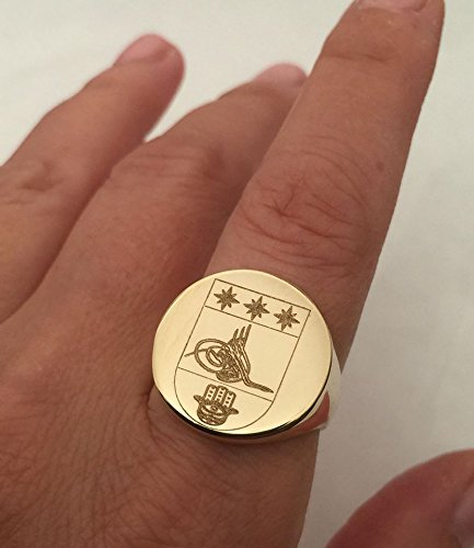 Signet Family Crest Ring, Personalized with University College Logo, 14K Solid Gold, 20 mm Round Seal ()