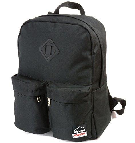 Alpine Swiss Major School Bag Backpack Bookbag 1 Year Warranty Black