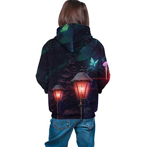 Kjiurhfyheuij 3D Print Teens Pullover Hoodies Street Lamp Fleece Hooded Sweatshirt for Boys Girls