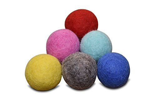 Set of 6 - 100% Wool Felt Ball Toys for Cats and Kittens, Comfy Pet Supplies Handmade Colorful Eco-Friendly Cat Wool Balls (4cm, Gray Mint Blue Red Pink Yellow)