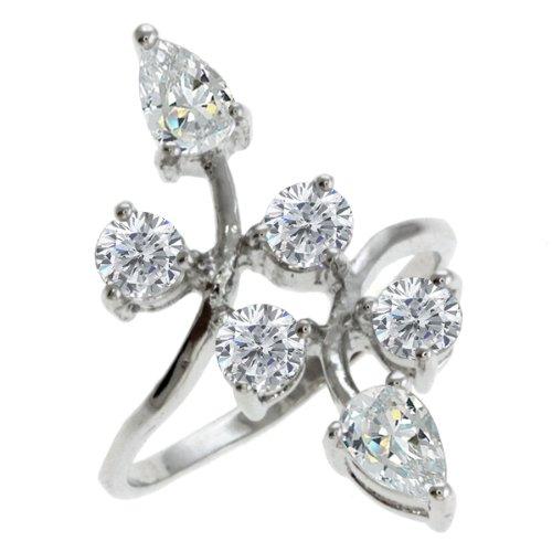 Size 7 Gem Stone King 4.5 CT Round Flower Shape White Cubic Zirconia CZ Ring