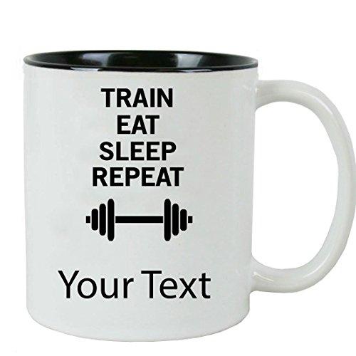 Personalized Custom Eat Train Sleep Weightlifting 11 oz White Ceramic Coffee Mug with White Gift Box