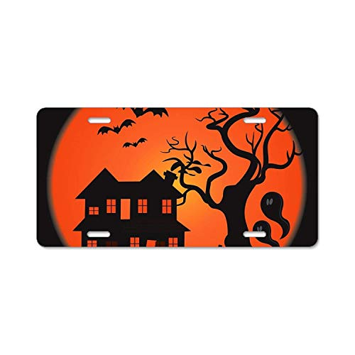 (YEX Halloween Scary Scene License Plate Frame Novelty Car Licence Plate Covers Auto Tag Holder Tag Sign 12