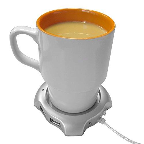 USB Beverage Warmers, HQF Desktop Mugs Coffee Tea Cup Warmer USB Electric Coaster + 4 Port USB Hub for Home office(Silver)