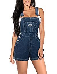 Womens Super Comfy Stretch Ripped Denim jumpsuit Overalls