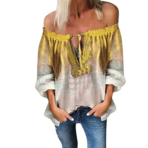 NCCIYAZ Womens Shirt Off Shoulder Gradient Colour Printing V-Neck Lace-up Long Sleeve Loose Blouse Ladies Tops(L(8),Yellow)