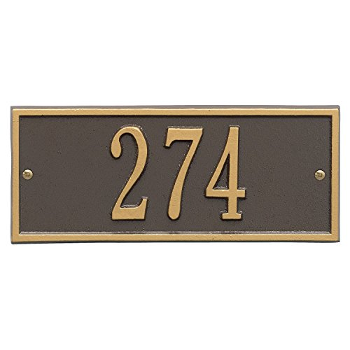 "Whitehall Personalized Cast Metal Address Plaque - Small Hartford Custom House Number Sign - 10.5"" x 4.25"" - Allows Special Characters - Bronze/Gold"