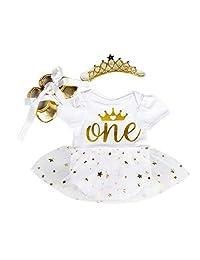 Marlegard Baby Girls' 3PCs 1st Birthday Bling Stars Tutu Dress Crown Headband Shoes