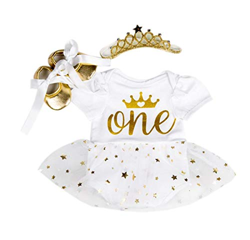 Marlegard Baby Girls' 3PCs 1st Birthday Bling Stars Tutu Dress Crown Headband Shoes (White, 9-12Months)