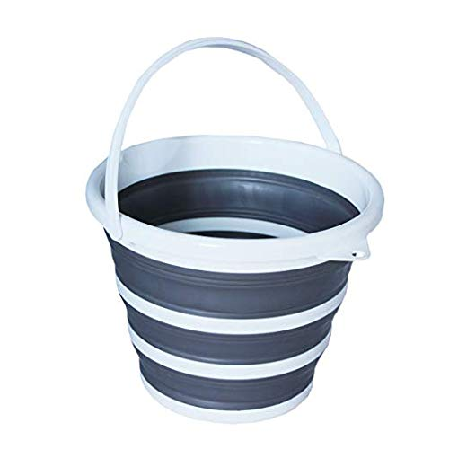 - Pop & Load Collapse & Store Collapsible Water Folding WASH Basin POP & LOAD- BUCKET, Round 1 Handle, GREY