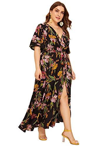 (Milumia Women Plus Size Floral Boho Wrap V Neck High Waist Maxi Dress Brown 0X)