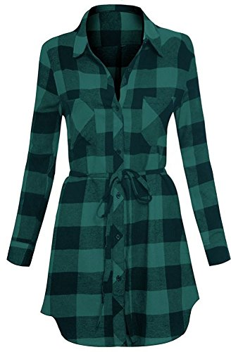 (Long Sleeve Plaid Cotton Flannel Button Down Belted Tunic Shirt Dress S Green/Navy)