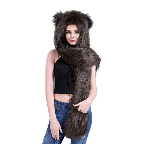 Fleece Anime Cosplay Cap - Brown Bear Full Animal Hood Hat Cap Scarf Gloves Mittens Faux Fur Fleece Lined Interior Anime Spirit Paws Ears Zipper Furry Hoodie