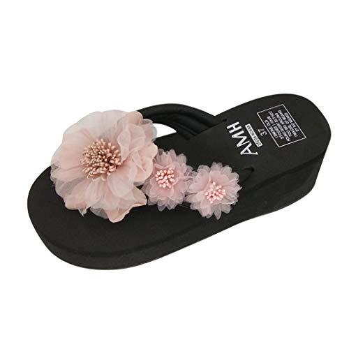 Summer Clothes Beach Shoes Simayixx Women US 5-7.5 Flat Sandals Bohemia Flower Flip Flops Teen Girls Slippers Plus Size Pink