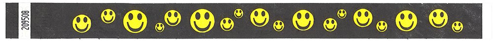 Black//Yellow Mayflower Distributing Company 100 Count Smiley Face Tyvek Wristband 3//4