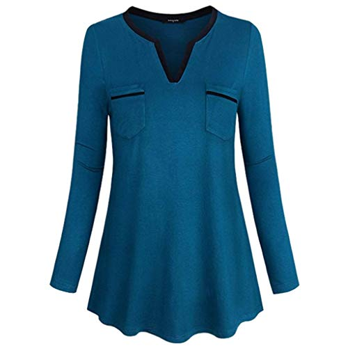 Xinantime Lady Loose Tee Shirt V Neck Long Sleeve Tunic Coat