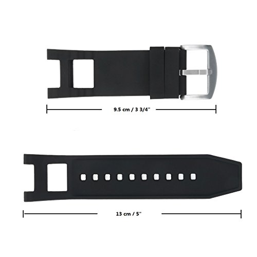 Adebena Black Rubber Silicone Watch Band Strap with Stainless Steel Buckle for invicta Subaqua Noma III by Adebena (Image #4)