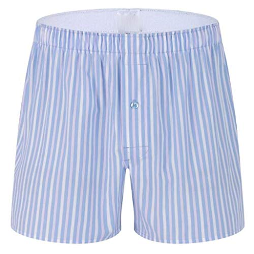 Landscap_Men Boxer Briefs Casual Household Home Shorts Summer Underwear Tartan Stripe Underpants Pajama (Light Blue,XXL)