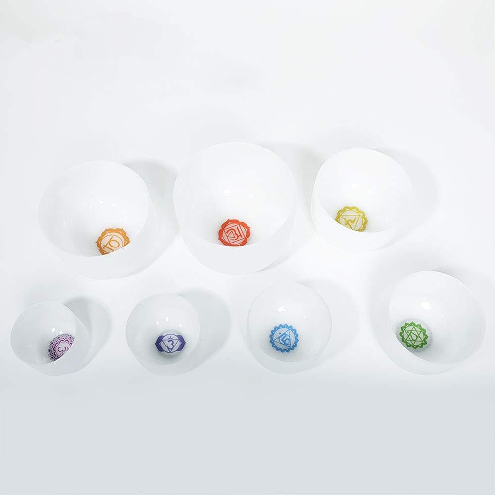 CVNC 7PCS Of 6-12 Inch Chakra Frosted Quartz Crystal Singing Bowls