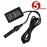WINGONEER 5Pcs 2-in-1 Digital LCD Embedded Thermometer Hygrometer with External for Reptile Incubator Aquarium Poultry - Black