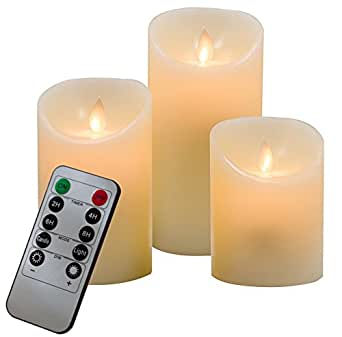 ACCELIFT Flameless Candles with Remote & Timer Super Long Battery Life Operated Electric Candle for Halloween,Weddings,Parties and Awesome Gifts,Set of 3,Ivory