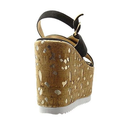 Angkorly Chaussure Mode Sandale Mule plateforme femme liège fantaisie doré Talon compensé plateforme 12.5 CM - Noir