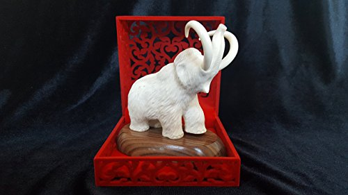 Russian art of hand carving on the bone. White Mammoth Figurine. Deer Antler, Hand Carved, Handmade from bone, Highly Detailed, Reduced Price! Antler Carving