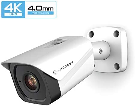 Amcrest UltraHD 4K 8MP Outdoor Bullet POE IP Camera, 3840x2160, 131ft NightVision, 4.0mm Narrower Angle Lens, IP67 Weatherproof, Wide 88 Viewing Angle, MicroSD Recording, White IP8M-2496EW-40MM