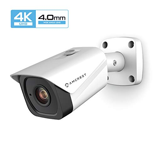 Amcrest UltraHD 4K 8MP Outdoor Bullet POE IP Camera, 3840×2160, 131ft NightVision, 4.0mm Narrower Angle Lens, IP67 Weatherproof, Wide 88 Viewing Angle, MicroSD Recording, White IP8M-2496EW-40MM