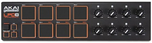 Akai Professional LPD8 | Ultra-Portable USB Drum Pad MIDI Controller for Laptops (8 Pads / 8 Knobs)