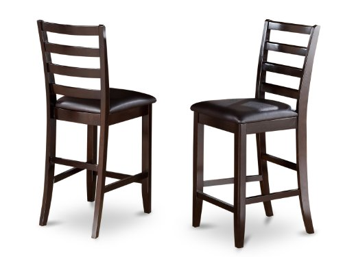 (East West Furniture FAS-CAP-LC Faux Leather Upholstered Seat Stool Set with Ladder Back, Set of 2)