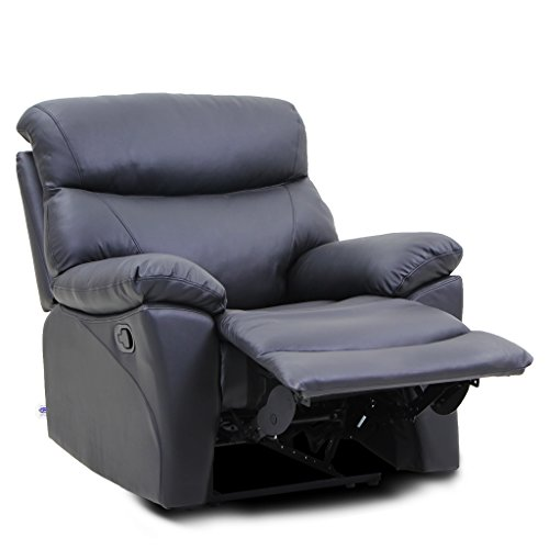 VIVA HOME Recliner Chair Top Grain Leather 1 Single Seat In Black, Viva6344C-BLK