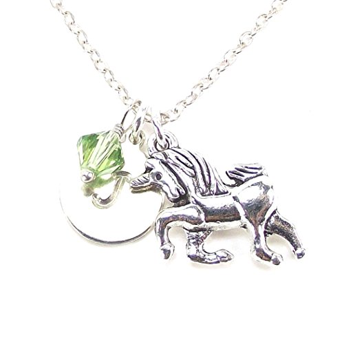 Birthstone Unicorn - Personalized Unicorn Necklace with Birth Month Crystal from Swarovski Custom Alphabet Charm Birthday Gift