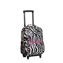 Rockland Rolling Carry-On Backpack, Pink Zebra, 17-Inch
