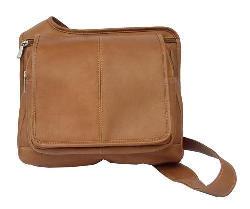 Piel Leather Slim Line Flap-Over Ladies Bag, Saddle, One ()