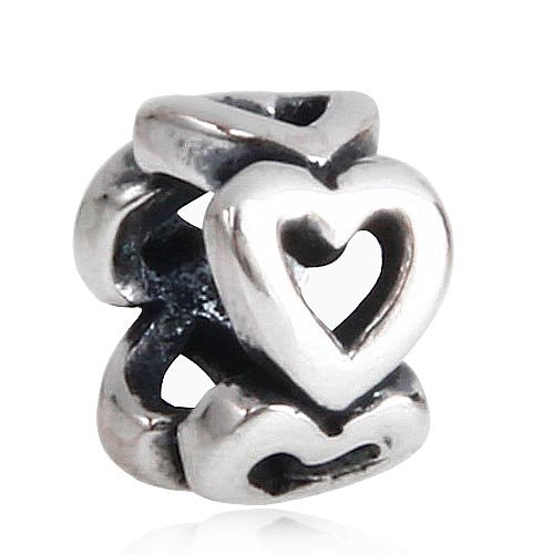 Hollow Heart Spacer Charm 925 Sterling Silver Beads for Pandora Charms Bracelet & Necklace ()
