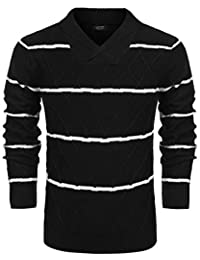 Men's Casual Slim Fit Pullover Sweater Long Sleeve Stripe Knit Sweater